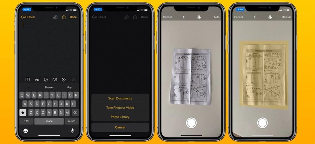 SCANNING DOCUMENTS USING HAND HELD DEVICES